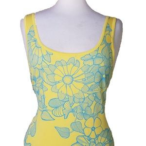 Long & Lean Ribbed Tank Top 3X Floral Stretch